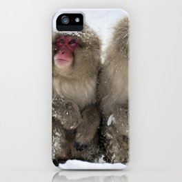 two snow monkeys iPhone Case