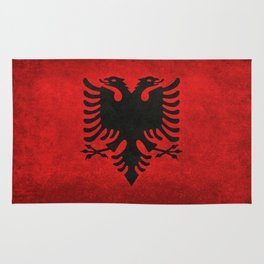 National flag of Albania with Vintage textures Rug