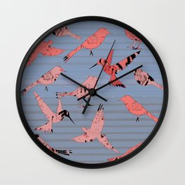 Pink birds, denim stripe Wall Clock
