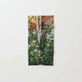 Rural landscape with a birch tree Hand & Bath Towel