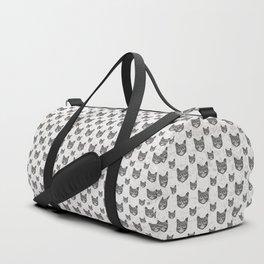 Swirly Cat Portrait (b/w) Duffle Bag
