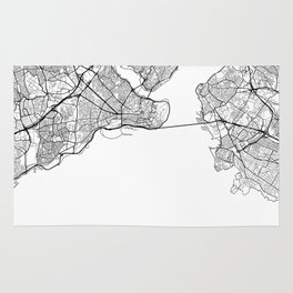 Istanbul Map White Rug
