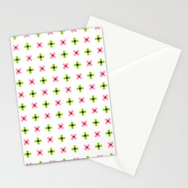 four lines 11 green and pink Stationery Cards