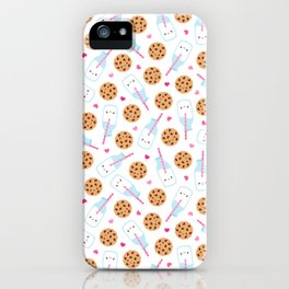 Happy Milk and Cookies Pattern iPhone Case