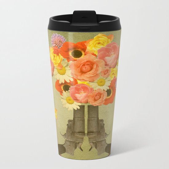 In my world, flowers come out of guns Metal Travel Mug