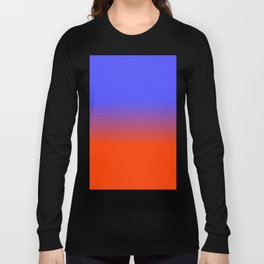 Neon Blue and Neon Orange Ombré  Shade Color Fade Long Sleeve T-shirt
