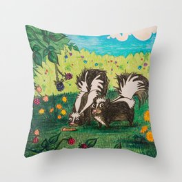 Skunk Picnic Throw Pillow