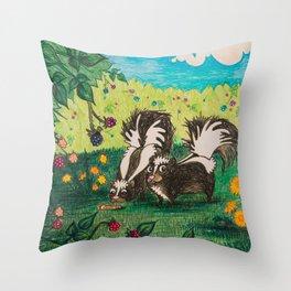 Skunk Picnic Throw Pillow