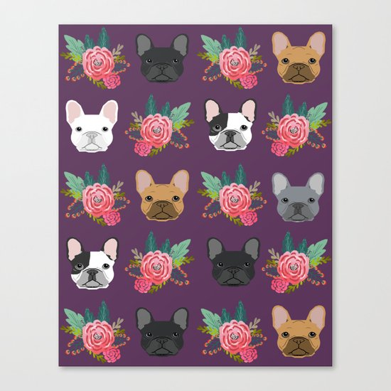 French Bulldog florals cute spring summer dog gifts bright happy frenchie puppy dog portraits  Canvas Print