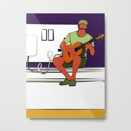 Small/ shrunken guitarist with wall socket Metal Print