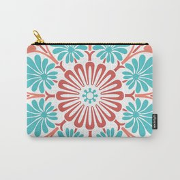 Washington Square in Coral Red and Aquamarine Carry-All Pouch