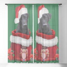 Labrador Dog Santa Claus Nutcracker Christmas Bag Sheer Curtain