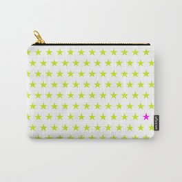 Lime green stars pattern and one single purple star Carry-All Pouch