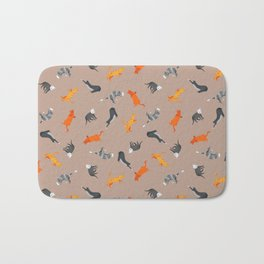 Cat Pattern | Light Brown Background | Cats Illustration Bath Mat