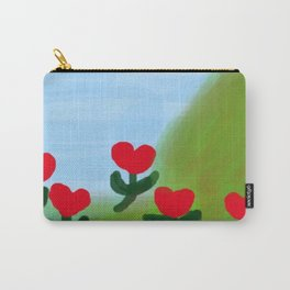Hearts from a Rose Red and Green Carry-All Pouch