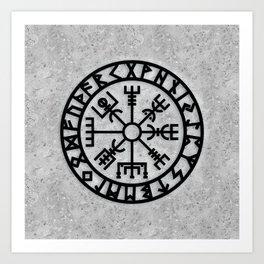 Vegvisir - Futhark - Runes - Navigator Art Print