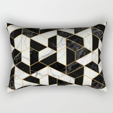 Black and White Marble Hexagonal Pattern Rectangular Pillow