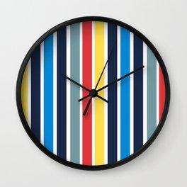 Bright multicolored vertical stripes. Wall Clock