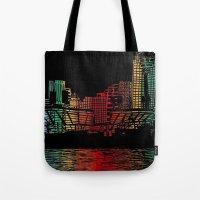 cincinnati Tote Bags featuring Cincinnati Nights by Tambergal