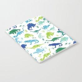 Watercolor Dinosaur Pattern White Green Blue Notebook