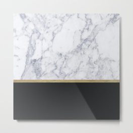 MARBLE GOLD BLACK Metal Print