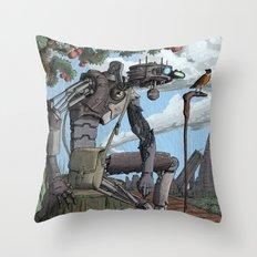Johnny Apple-Droid Throw Pillow