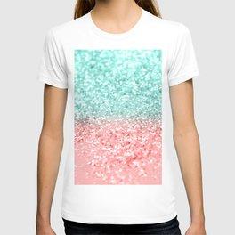 Summer Vibes Glitter #1 #coral #mint #shiny #decor #art #society6 T-shirt