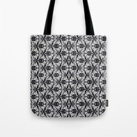 damask Tote Bags featuring Black Damask  by Elena Indolfi