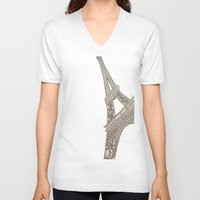 eiffel tower V-neck T-shirts featuring Eiffel Tower  by Elyse Notarianni
