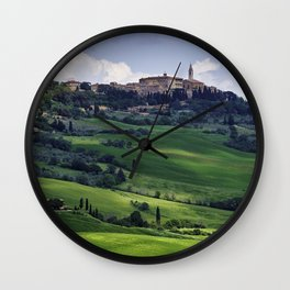View of Pienza in a Tuscan Countryside, Italy Wall Clock