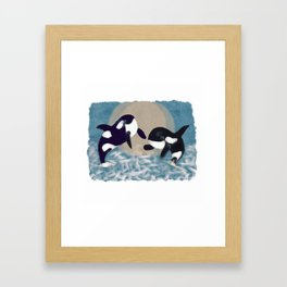 Whale dance Framed Art Print