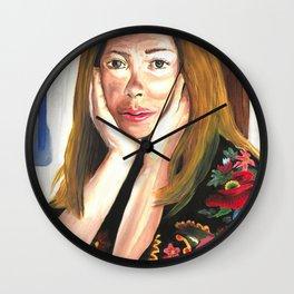 Joan Didion Drawings Feminist Icon Portrait Wall Clock
