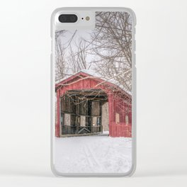 Vermont Red Covered Bridge in Snow Clear iPhone Case