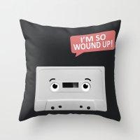 cassette Throw Pillows featuring Cassette by Dylan Morang