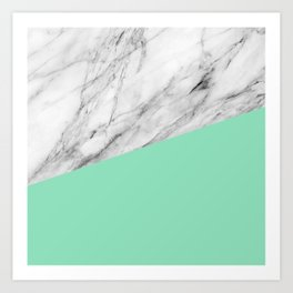 Carrara Marble and Sea Color Art Print