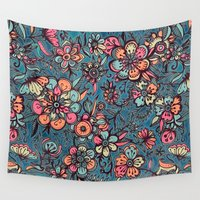 teal Wall Tapestries featuring Sweet Spring Floral - melon pink, butterscotch & teal by micklyn