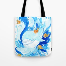 Whale and baby pumpkin whale Tote Bag