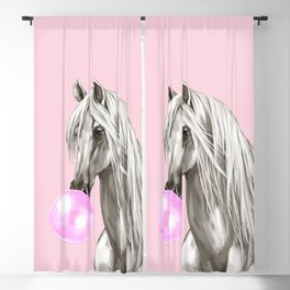 White Horse with Bubble Gum in Pink Blackout Curtain
