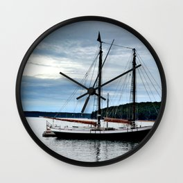 Sailboats at Dusk Wall Clock