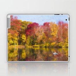 Autumn Pond With Mallard Duck Laptop & iPad Skin