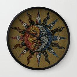 Vintage Celestial Mosaic Sun & Moon Wall Clock