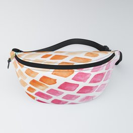 Sea View Watercolor Tiles Mosaic Square Colourful Abstract Art Fanny Pack