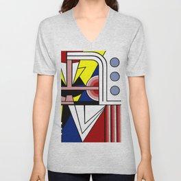 A digitally reworked   Roy Lichtenstein's pop art Unisex V-Neck