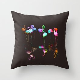 Rainbow Flamingos Throw Pillow