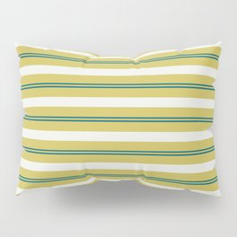 Off White, Dark Yellow and Tropical Dark Teal Inspired by Sherwin Williams 2020 Trending Color Oceanside SW6496 Stripes Thick and Thin Horizontal Line Pattern Pillow Sham