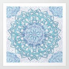 Aqua Lace Mandala Art Print