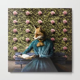 Fiona Fox reading in the garden Metal Print
