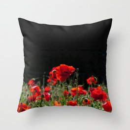 Red Poppies in bright sunlight Throw Pillow