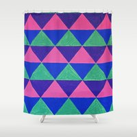 triangles Shower Curtains featuring Triangles by Marjolein