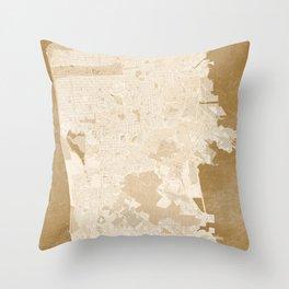 San Francisco Penninsula vintage map in sepia Throw Pillow